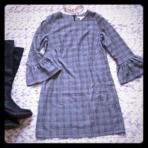 WHBM Bell Sleeve Plaid Dress